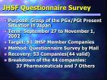 jhsf questionnaire survey