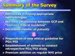 summary of the survey