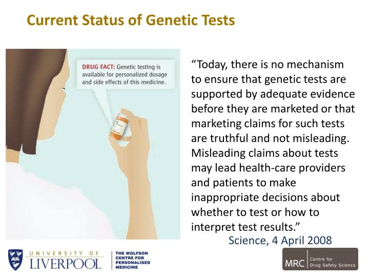 Current Status of Genetic Tests