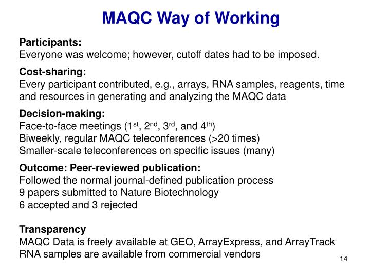 MAQC Way of Working