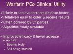 warfarin pgx clinical utility
