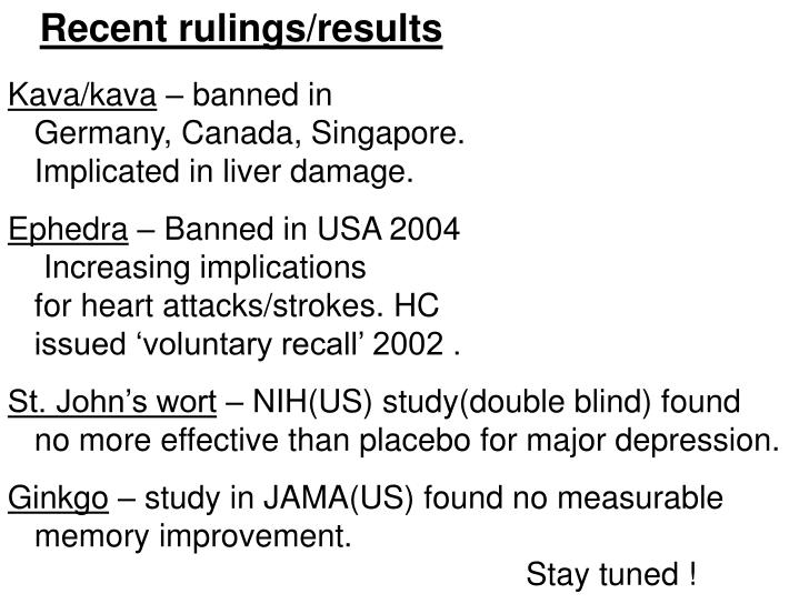 Recent rulings/results