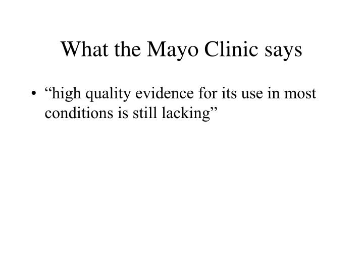 What the Mayo Clinic says