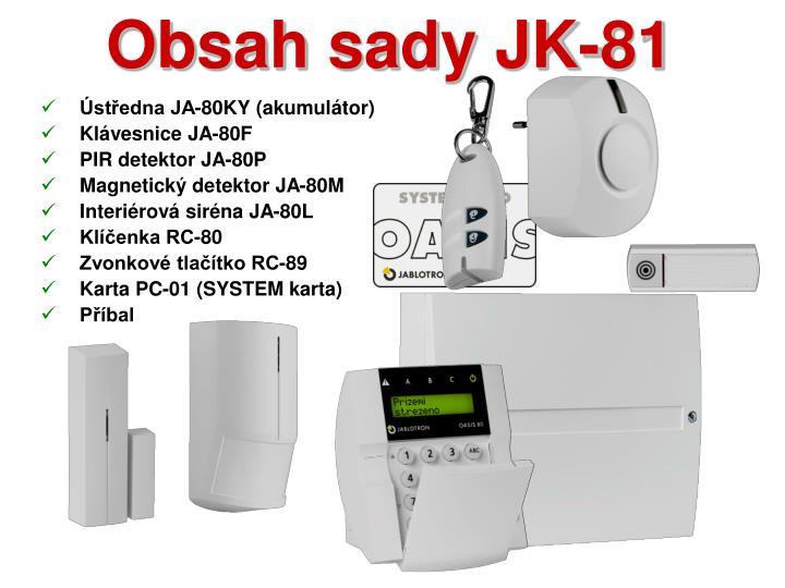 Obsah sady JK-81