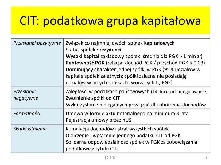 CIT: podatkowa grupa kapitałowa
