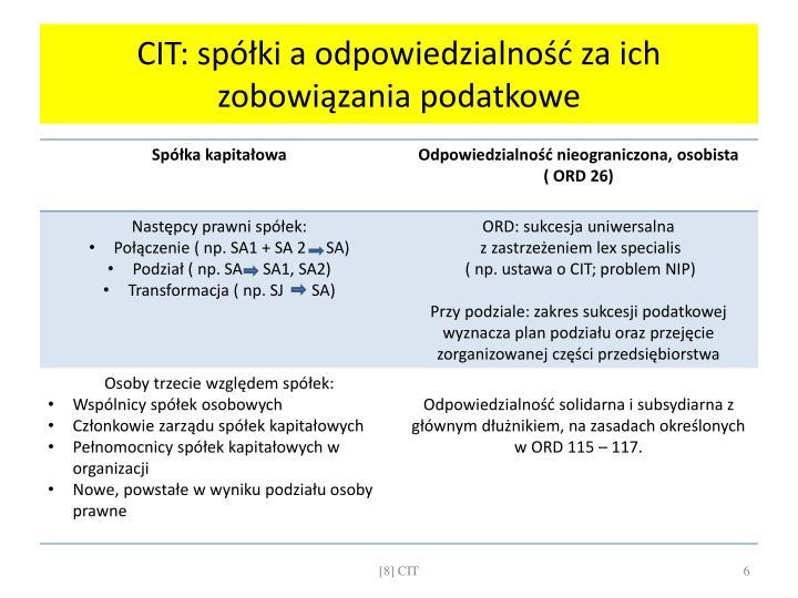CIT: spółki a odpowiedzialność za ich zobowiązania podatkowe