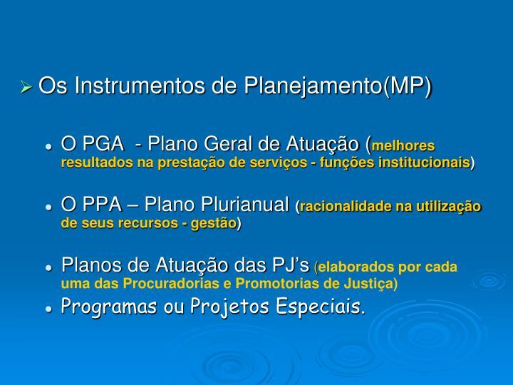 Os Instrumentos de Planejamento(MP)