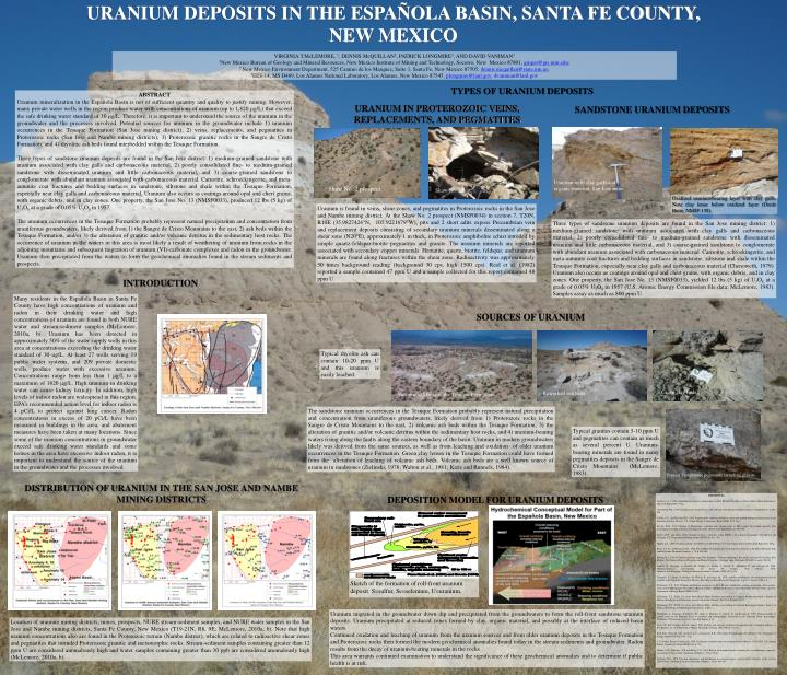 URANIUM DEPOSITS IN THE ESPAÑOLA BASIN, SANTA FE COUNTY,