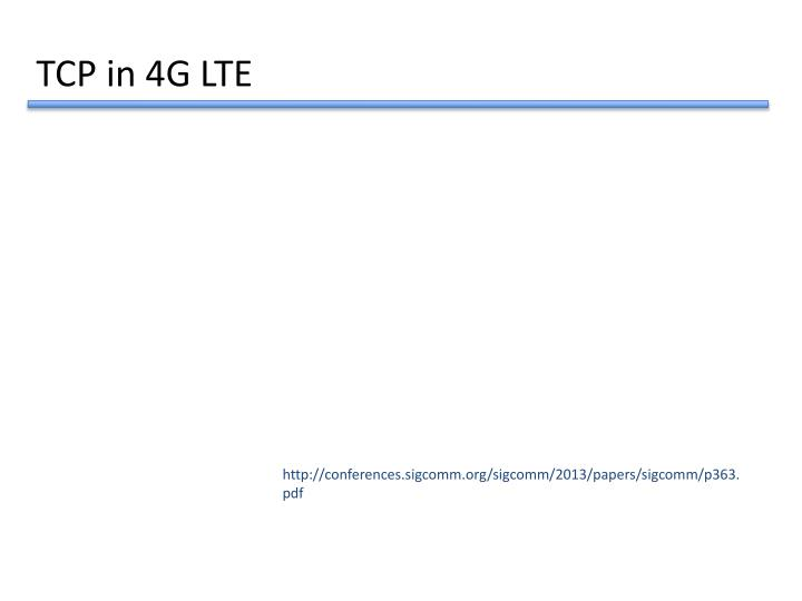 TCP in 4G LTE