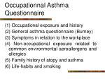 occupationnal asthma questionnaire