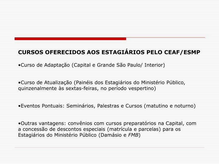 CURSOS OFERECIDOS AOS ESTAGIÁRIOS PELO CEAF/ESMP