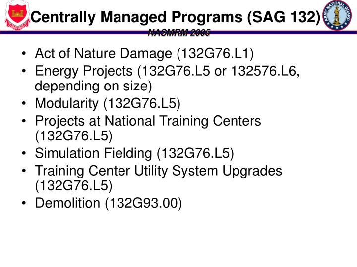 Centrally Managed Programs (SAG 132