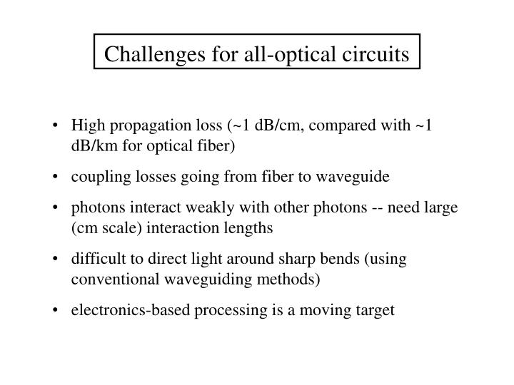 Challenges for all-optical circuits