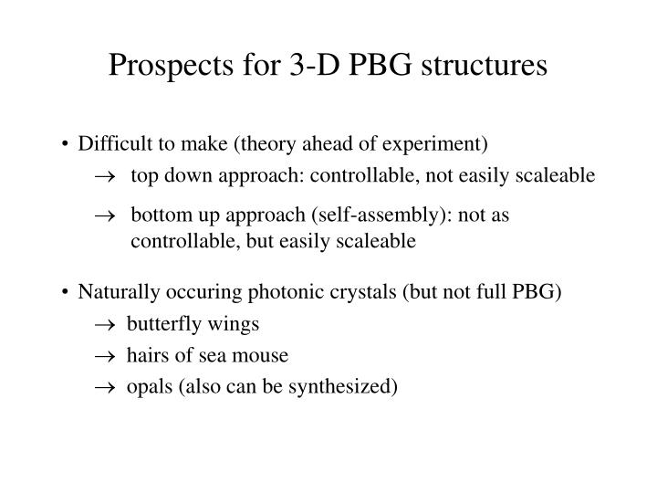 Prospects for 3-D PBG structures
