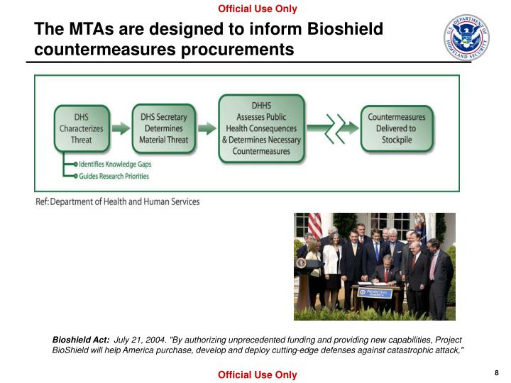 The MTAs are designed to inform Bioshield countermeasures procurements