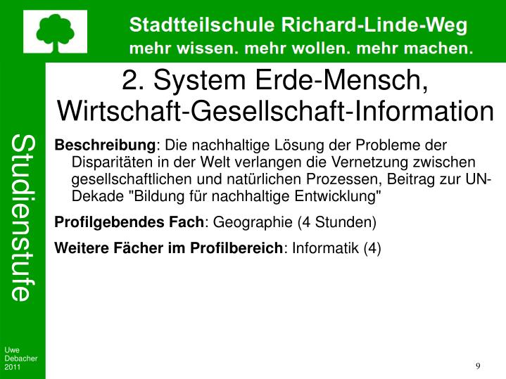 2. System Erde-Mensch, Wirtschaft-Gesellschaft-Information