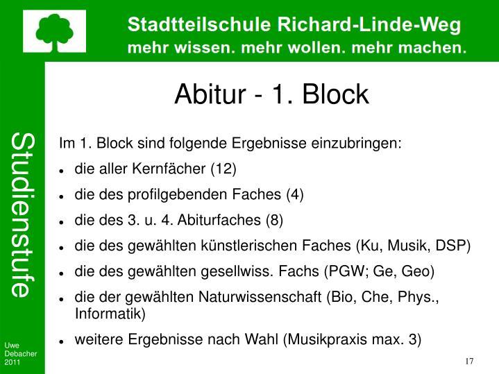 Abitur - 1. Block