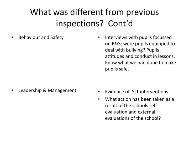 What was different from previous inspections?  Cont'd
