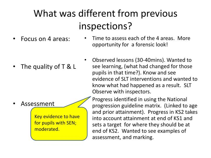 What was different from previous inspections?