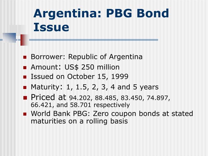 Argentina: PBG Bond Issue