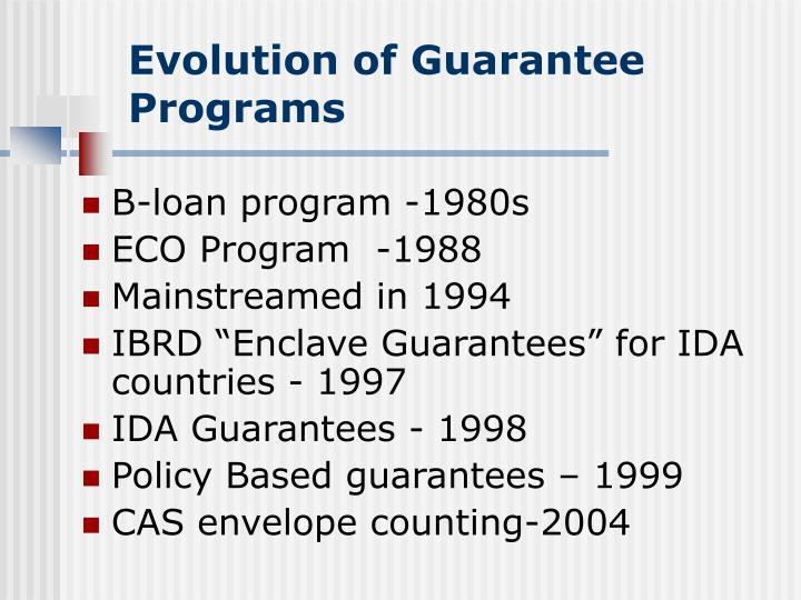 Evolution of guarantee programs