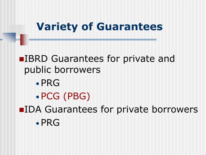 Variety of Guarantees