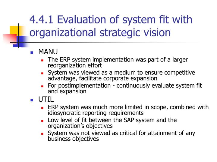 4.4.1 Evaluation of system fit with organizational strategic vision