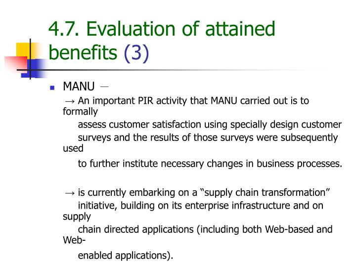 4.7. Evaluation of attained benefits