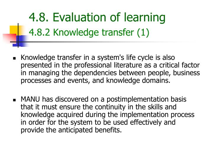 4.8. Evaluation of learning