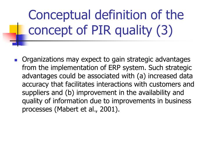 Conceptual definition of the concept of PIR quality (3)