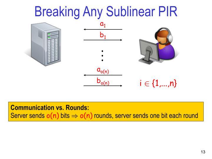 Breaking Any Sublinear PIR