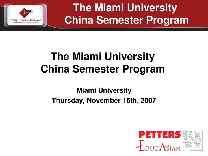 miami university thursday november 15th 2007 n.