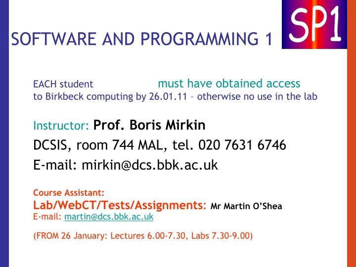 software and programming 1 n.
