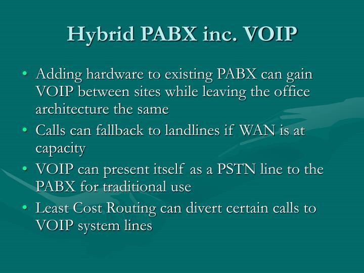 Hybrid PABX inc. VOIP