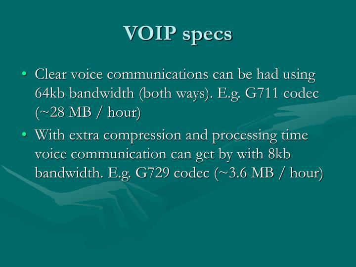 VOIP specs