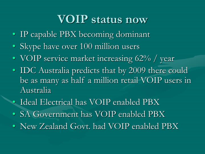 VOIP status now