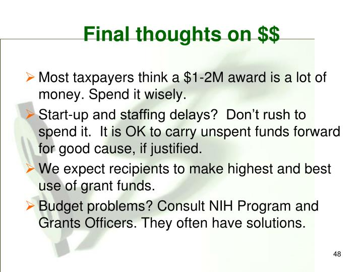 Final thoughts on $$