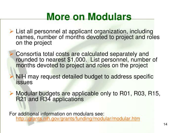 More on Modulars