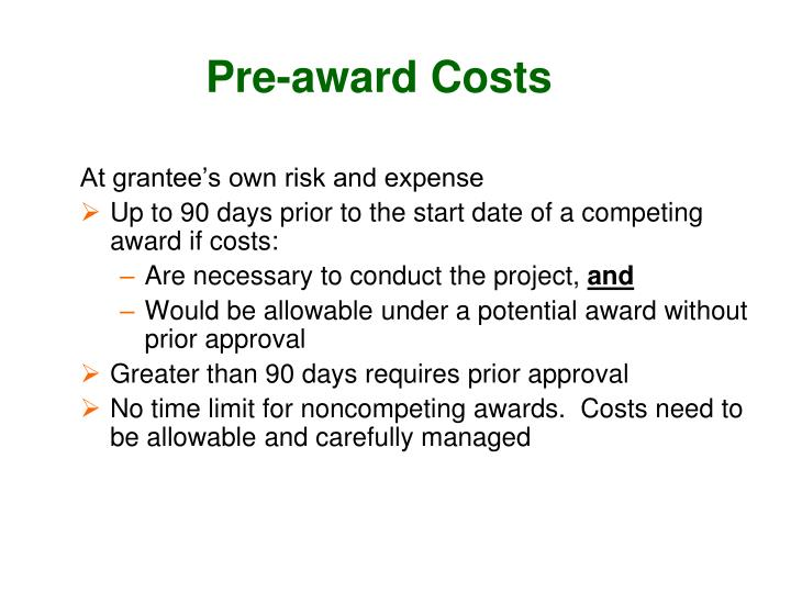 Pre-award Costs