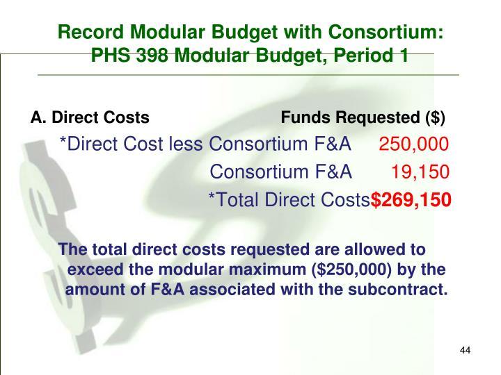 Record Modular Budget with Consortium:
