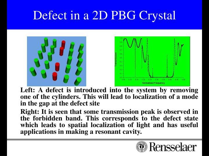 Defect in a 2D PBG Crystal