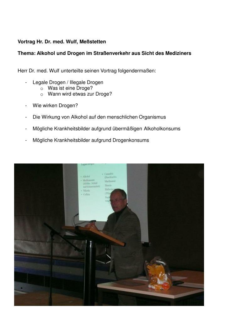 Vortrag Hr. Dr. med. Wulf, Meßstetten