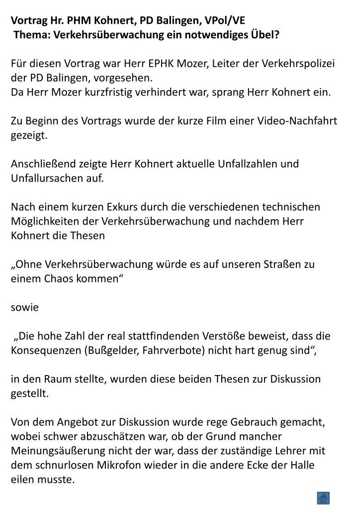 Vortrag Hr. PHM Kohnert, PD Balingen, VPol/VE