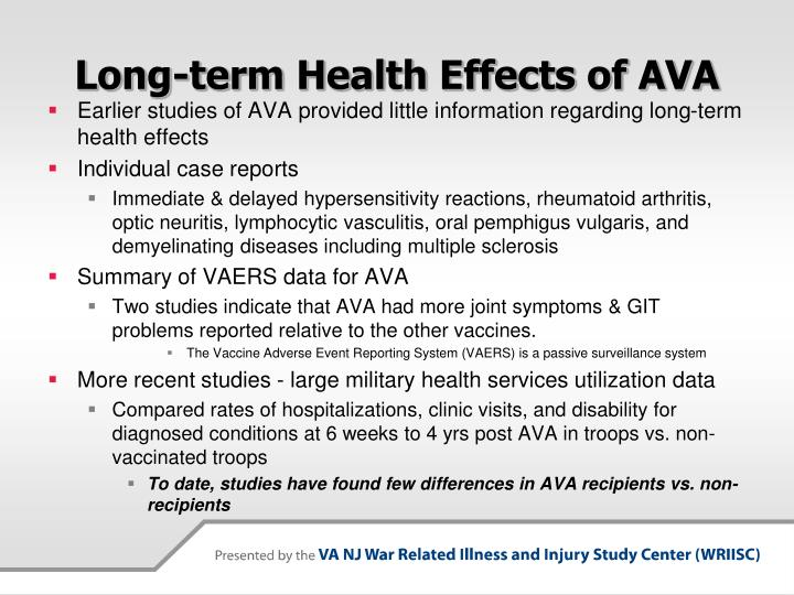 Long-term Health Effects of AVA