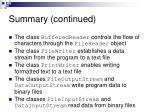 summary continued