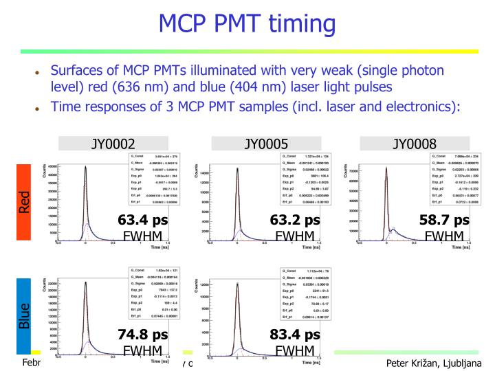MCP PMT timing