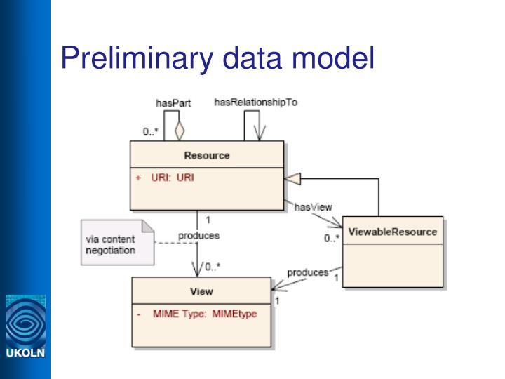 Preliminary data model