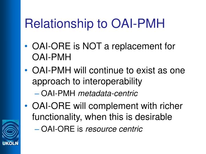 Relationship to OAI-PMH