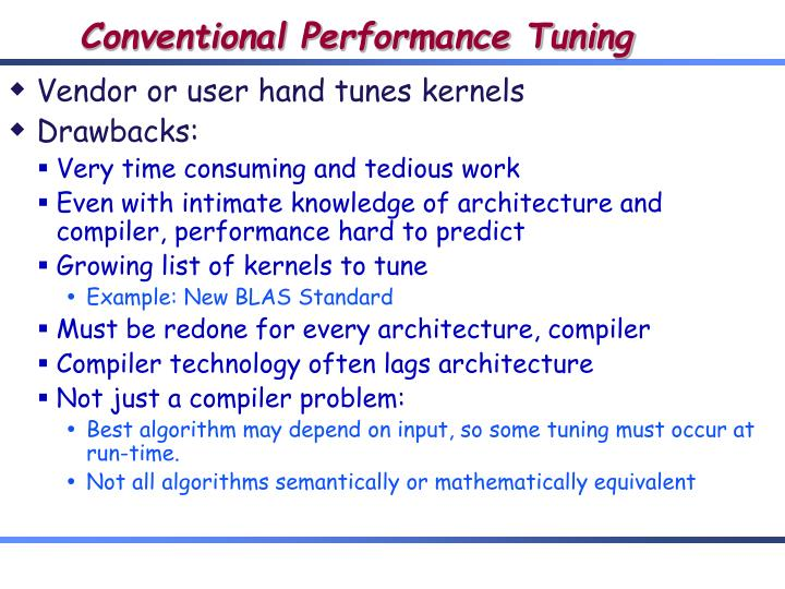 Conventional Performance Tuning