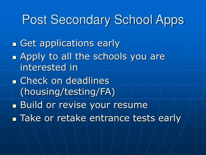 Post Secondary School Apps